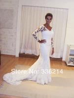 2014 New Lace V Neck Long Sleeve Wedding Dress Custom Size 2 4 6 8 10 12 14 16 18 20++