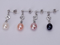 wholesale Freshwater drop pearl dangling stud earrings,different colors,Factory Price earrings,Real pearl Pierce stud earring