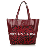 Fashion Womens Leopard Grain Horse Fur+ 100% Cow Skin Genuine Leather Hobo Tote Handbag Shoulder Bag Big Shoppers