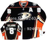 Anaheim Ducks Teemu Selanne #8 Third Blak Orange A Patch Ice Hockey Winter Authentic Jersreys - Can Customize (XXS-6XL)