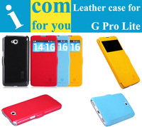 "1xScreen film + ""Nillkin"" brand Fresh series view window  Flip Leather case for LG G Pro Lite Dual sim card D686 Fashion"