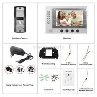 Luxury Door Phone 7 Inch TFT Monitor LCD Color Video Take Picture Record DoorPhone Intercom 11 DoorBell Rings IR CMOS Camera