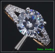 Charm Fashion Multi-tone Gold Swiss Cubic Zirconia Engagement Ring R104(China (Mainland))