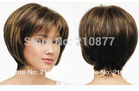 Grátis frete celebridade penteado acalentar cor misturada Bob estilo peruca sintética cerca de 8 polegadas(China (Mainland))