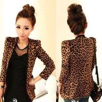 Sexy Women Korean Style Coat Fashion Womens Leopard Print Shoulder Pads Blazer Jacket #L0341563