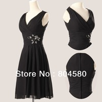 Hot Selling!  A-line V-neck Knee-length Chiffon Ball Prom Gown Short Evening Dress 2014 CL3440