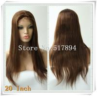 "120% Density! Brazilian Human Hair Glueless Full Lace Wigs 4# Dark Brown 10""12""14""16""18""20"" Natural Straight Brown Lace B24"