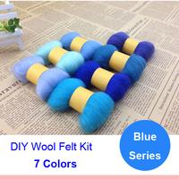Blue Series Wool Felt Poke Poke Fun Handmade Diy Kit Material 5g/Colour 7colours