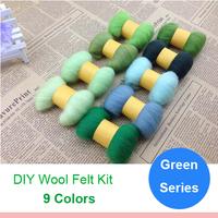 Green Series Handmade materials diy poke fun wool strip wool felt 5g/color 9colors