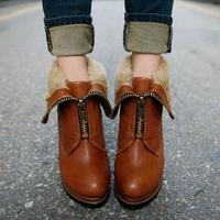 {D&T}2014 Newest Women Boots Two Ways Square Heel Faux Fur Zipper Leather Boots Winter Ankle Boots Heels Women Shoes Platform