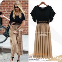 Free Shipping Fashion summer dresses 2013 Hot Womens Vintage Short Sleeve Dolman Maxi Long Chiffon Party Evening Dress S-XXXL