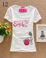 [Amy] 2014 women's t shirt Lovely smile printed Good Quality Cotton T Shirt Women T-shirts D12