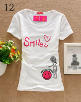 [Amy] Lovely smile printed Good Quality Cotton T Shirt Women T-shirts D12