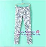 KZ147 New Fashion Ladies' elegant Floral print Pencil Pants Skinny vintage casual slim quality brand designer Trousers Hot Sale