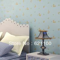 Brand Child Room Wallpaper Silk Quality Non-woven Cartoon Moon Wallpaper Children Living Room Wallpaper