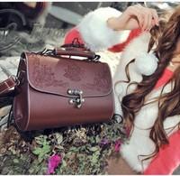 Vintage bag retro hollow out carved women fashion 2014 new handbag female Messenger cross-body  black brown PU leather small bag