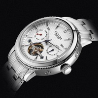 Brand new CALUOLA 5 hand date & year men's casual watch automatic self wind watches sapphire skeleton 316l stainless steel strap