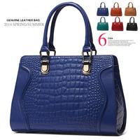 Women's genuine leather women handbag vintage bag shoulder messenger bags brand crocodile pattern women leather handbags totes