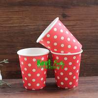 Free shipping!50pcs/lot 9oz white Dots Red Paper Cups,drinking cup,Party Paper Cup, wedding birthday party supplies,Party Decor