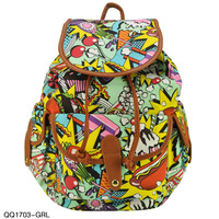 New fashion canvas shoulder bag PU printing cartoon lady.Korean Style women`s printing backpack