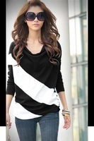 or002 new 2014 Fashion Blouse Womens Batwing Sleeve Color Block Striped Draped Neckline Comfy Stylish Trendy T-Shirt Women Top
