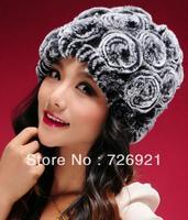 Free Shipping New Real Knitted REX Rabbit Fur Hat Thick Wool Lining Beanie Cap Winter Women Flower Headgear Ladies Hat