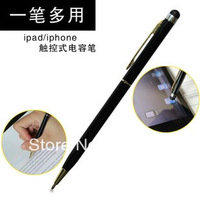 Free shipping!Double with a ballpoint pen Samsung phones Apple iphone4s ipad tablet capacitive screen pen handwritten pen stroke