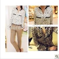 2014 Autumn women's silk floss leopard print shirt loose shirt plus size chiffon shirt top basic shirt