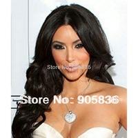 Kim kardashian black loose wavy  full lace human hair  wig