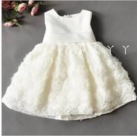 Retail baby girls summer princess dress kids formal dress babies wedding dress children short sleeve party dress