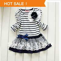 Top Quality Children Dresses 2014 Fashion Girls Princess Dress Summer Baby Long-Sleeve Striped Dress Retail, Free Shipping