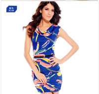 Hot 2014 summer fashion dress boutique women strong supply flowers Slim package hip sleeveless dress