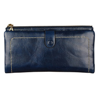 Hot sale! New special oil wax leather purse ms long wallet clasp zipper women wallet leather wallet