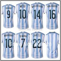 HIGUAIN 9 MESSI 10 MASCHERANO 14 KUN AGUERO 16 Argentina 2014 world cup 10 Maradona soccer jersey top Thailand Quality Fans