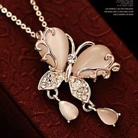 18K South Korea retro opal butterfly short necklace X5249