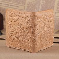 New 2014 Handmade Genuine Leather Carving Wallets Cowskin Wallet Men Women Vintage Money Clip  Beige Purse Carterira TBG0106