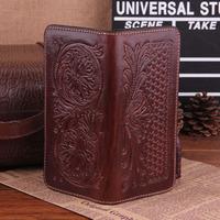 Genuine Leather Embossed Clutch Wallets Cowskin Wallet Men Women Vintage Money Clip Brown Purse  Holder Carterira TBG0109