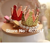 Free Shipping(50 PCS/lot) Crown design hairclip cotton fabricwith pearl and crystal, Pet Accessories,Pet Barrettes,pet hairclip