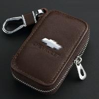 Top Genuine Leather Automotive Remote Control Bag For Chevrolet Cruze Aveo CAMARO EPICA CAPTIVA Spark Malibu key Bag Key Case