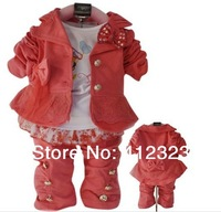 2015 new girls kids clothes set baby 3 pcs suit clothing for spring autumn long sleeve coat shirt pant children wear