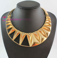 (Min order $10,Mix Order )European Punk Style Gold Plated Metal Choker Bib Collar Necklace