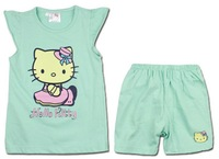 (4 Sets/Lot) Wholesale 2014 Summer Cute Fashion Hello Kitty Children Girls Cotton Sleeveless Clothing Sets,6 Colors