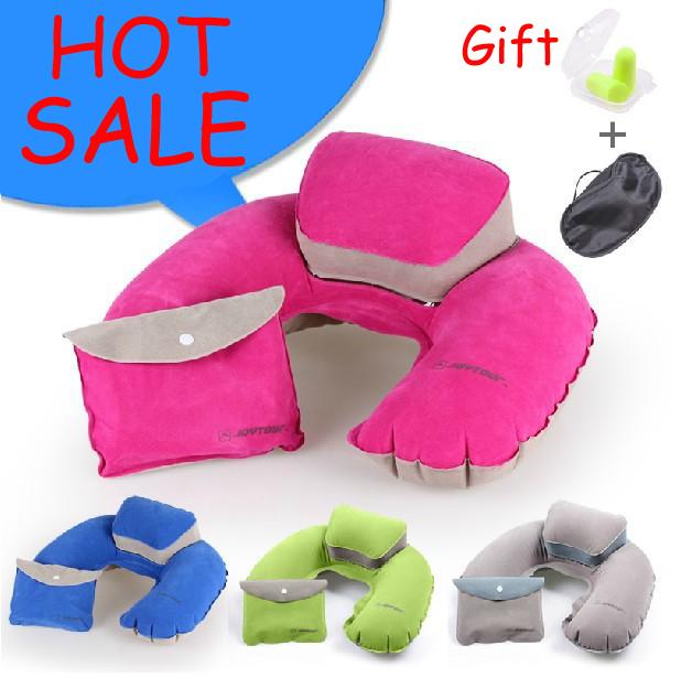 Free Shipping Upgrade 3PCS pillow SET U-Shape air Pillows ear plug eyeshade travel sleeping neck protector mini storage bags(China (Mainland))