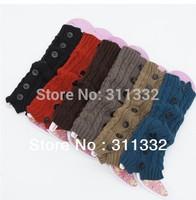 Free shipping Women Knit Stocking Stripe Crochet Leg Warmer Legging Finger Gloves Legs Warmers Sleeve 6 colors 5pair/lot