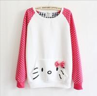 [bunny]2013 Women Fashion Hoodies Lovely Bowknot Pocket Mix Color High Quality Fleece Inside Lady Sweatshirts Free Shipping 8431