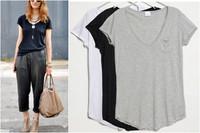 2014 New Women Casual V-Neck Short-sleeve Loose T-shirt Blusas Womans Plus Size Blouses Basic Top Tee Black Gray White Camiseta
