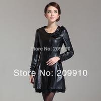 2014 Winter dress Leather  lace female elegant slim medium-long plus size PU trench outerwear long sleeve L-4XL
