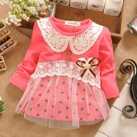 Free Shipping New 2014 Fashion Spring Baby Girls Dresses Infant Flower Girl  Lace Dresses Child Cotton Princess Dress For Girls