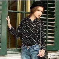 Vintage women's 2013 polka dot shirt chiffon shirt basic long-sleeve shirt200-9