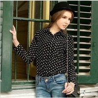 Vintage women's 2013 polka dot shirt chiffon shirt basic long-sleeve shirt